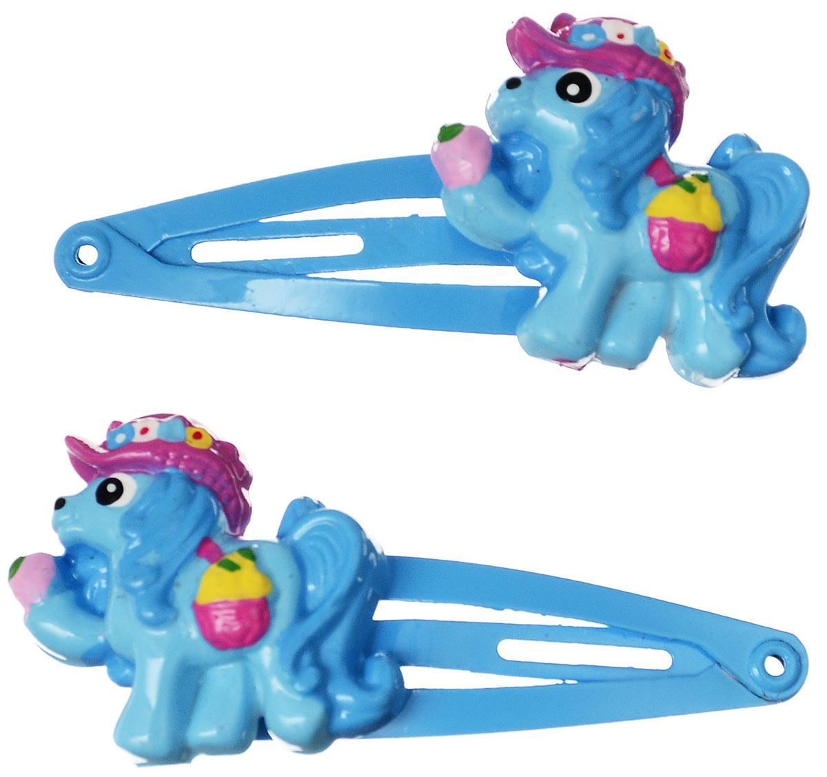 Зажим для волос Babys Joy, цвет: голубой. AL 966AL 966_голубойНабор зажимов для волос Babys Joy с автоматическим зажимным механизмом изготовлен из металла и оформлен фигуркой пони, выполненной из пластика. Комплект содержит две заколочки. Зажим для волос Babys Joy надежно зафиксирует непослушные локоны и подчеркнет красоту прически вашей маленькой принцессы.