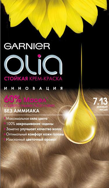 Garnier Стойкая крем-краска для волос Olia без аммиака, оттенок 7.13, Бежевый русый, 160 млC4683200Garnier Olia - первая стойкая крем-краска без аммиака, которая активируется маслом. Olia обеспечивает максимальную силу цвета благодаря богатому цвету , который сохраняет свою безукоризненную точность. Olia заметно улучшает качество волос. Волосы на 17% более блестящие и на 35% более мягкие*. Olia обеспечивает уникальное чувственное нанесение, оптимальный комфорт кожи головы и обладает изысканным цветочным ароматом. Степень стойкости : 3 (обеспечивает стойкое окрашивание). В комплекте: - 1 тюбик с молочком проявителем (60 г) - тюбик с крем-краской (60 г) - 1 бальзам-уход Шелк и Блеск(40 г) - 1 инструкция и пара перчаток Прозводитель : Бельгия. Товар сертифицирован. ВНИМАНИЕ! Продукт может вызывать аллергическую реакцию, которая в редких случаях может нанести серьезный вред Вашему здоровью. Проконсультируйтесь с врачом-специалистом перед применением любых окрашивающих средств.