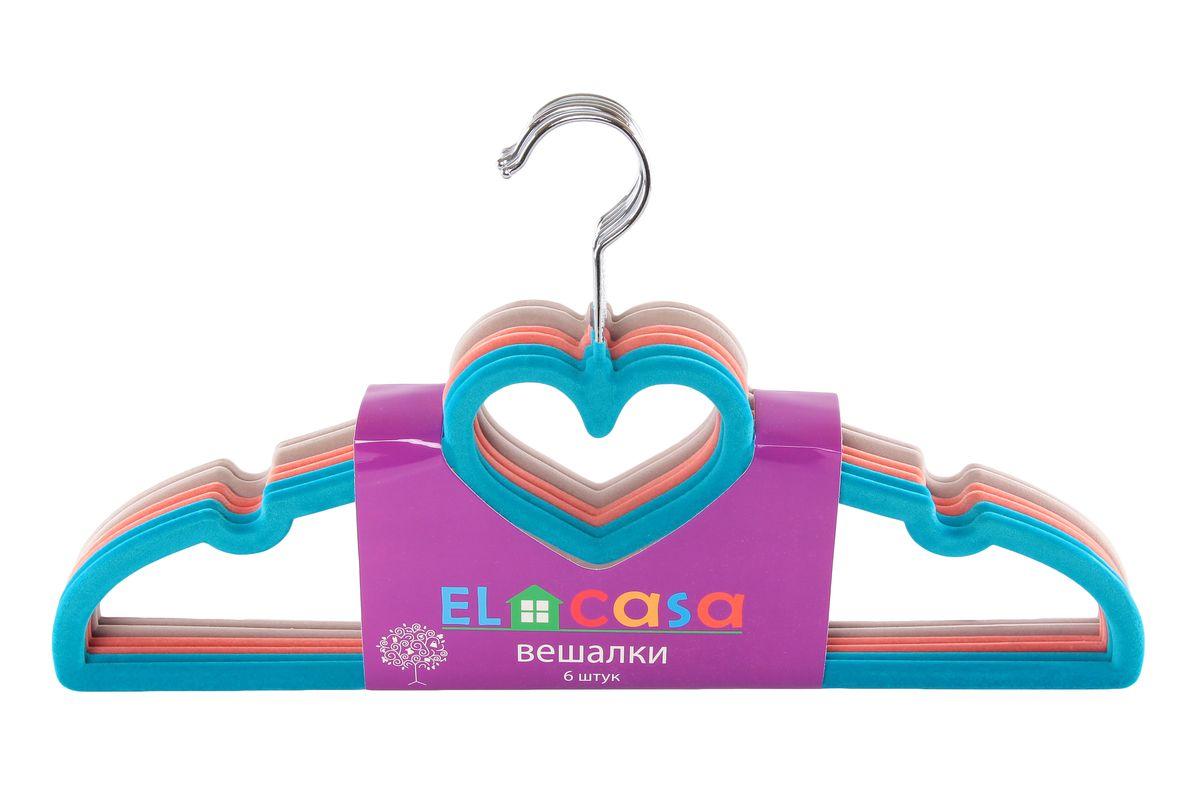 Набор вешалок El Casa Сердце, цвет: бирюзовый, светло-коралловый, светло-серый, 6 шт150011Набор вешалок El Casa Сердце состоит из 6 разноцветных вешалок, изготовленных из пластика c велюровым антискользящим покрытием. Изделия имеют легкий и прочный каркас, вращающийся крючок, перекладину и две выемки для юбок или маечек. Вешалка - это незаменимая вещь для того, чтобы ваша одежда всегда оставалась в хорошем состоянии. Набор El Casa Сердце станет практичным и полезным в вашем гардеробе. С ним ваша одежда избежит ненужных растяжек и провисаний. Комплектация: 6 шт. Размер вешалки: 40 см х 0,5 см х 23 см.