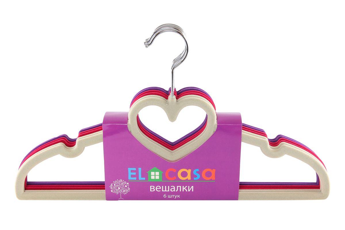 Набор вешалок El Casa Сердце, цвет: светло-серый, бордовый, фиолетовый, 6 шт150012Набор вешалок El Casa Сердце состоит из 6 разноцветных вешалок, изготовленных из пластика c велюровым антискользящим покрытием. Изделия имеют легкий и прочный каркас, вращающийся крючок, перекладину и две выемки для юбок или маечек. Вешалка - это незаменимая вещь для того, чтобы ваша одежда всегда оставалась в хорошем состоянии. Набор El Casa Сердце станет практичным и полезным в вашем гардеробе. С ним ваша одежда избежит ненужных растяжек и провисаний. Комплектация: 6 шт. Размер вешалки: 40 см х 0,5 см х 23 см.