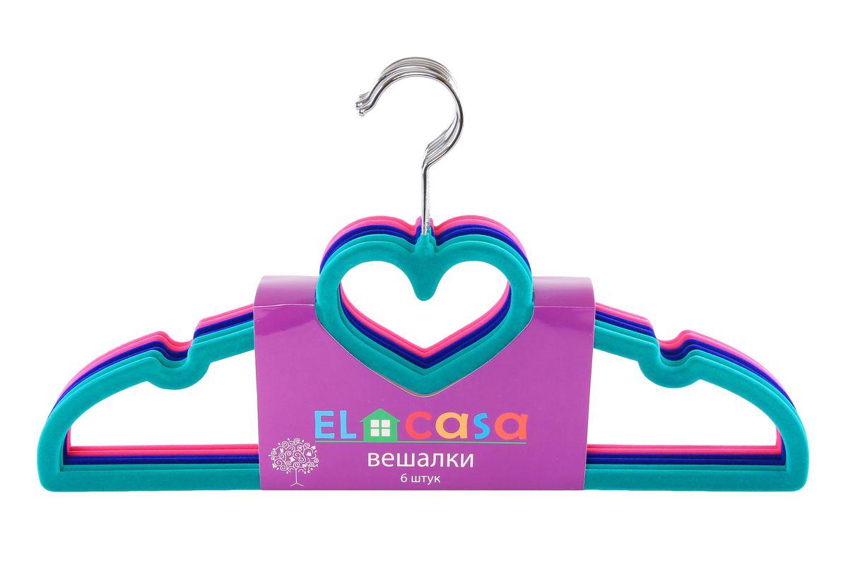 Набор вешалок El Casa Сердечки, цвет: зеленый, синий, розовый, 6 шт150013Набор вешалок El Casa Сердечки состоит из 6 разноцветных вешалок, изготовленных из пластика c велюровым антискользящим покрытием. Изделия имеют легкий и прочный каркас, вращающийся крючок, перекладину и выемки для юбок или маечек. Вешалка - это незаменимая вещь для того, чтобы ваша одежда всегда оставалась в хорошем состоянии. Набор El Casa Сердечки станет практичным и полезным в вашем гардеробе. С ним ваша одежда избежит ненужных растяжек и провисаний. Комплектация: 6 шт. Размер вешалки: 40 см х 0,5 см х 22 см.