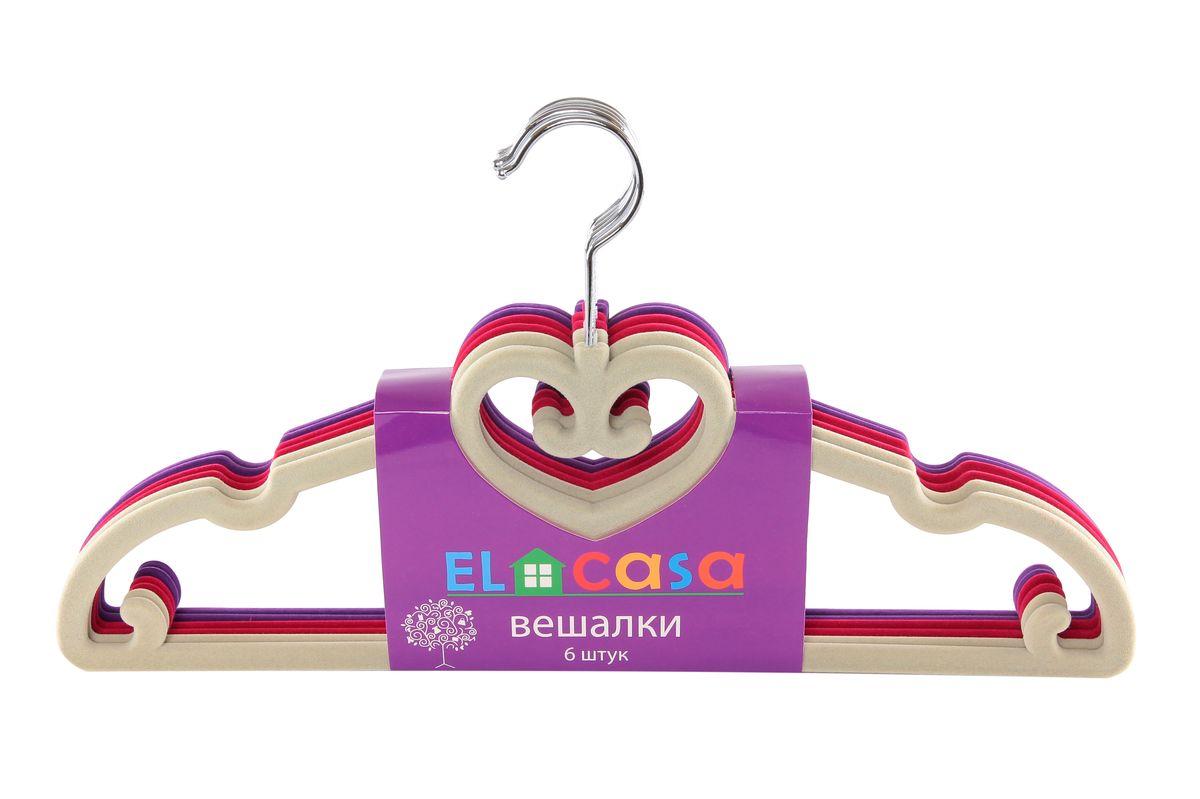 Набор вешалок El Casa Сердечки, цвет: светло-серый, малиновый, фиолетовый, 6 шт150020Набор вешалок El Casa Сердечки состоит из 6 разноцветных вешалок, изготовленных из пластика c велюровым антискользящим покрытием. Изделия имеют легкий и прочный каркас, вращающийся крючок, перекладину и выемки для юбок или маечек. Вешалка - это незаменимая вещь для того, чтобы ваша одежда всегда оставалась в хорошем состоянии. Набор El Casa Сердечки станет практичным и полезным в вашем гардеробе. С ним ваша одежда избежит ненужных растяжек и провисаний. Комплектация: 6 шт. Размер вешалки: 40 см х 0,5 см х 22 см.