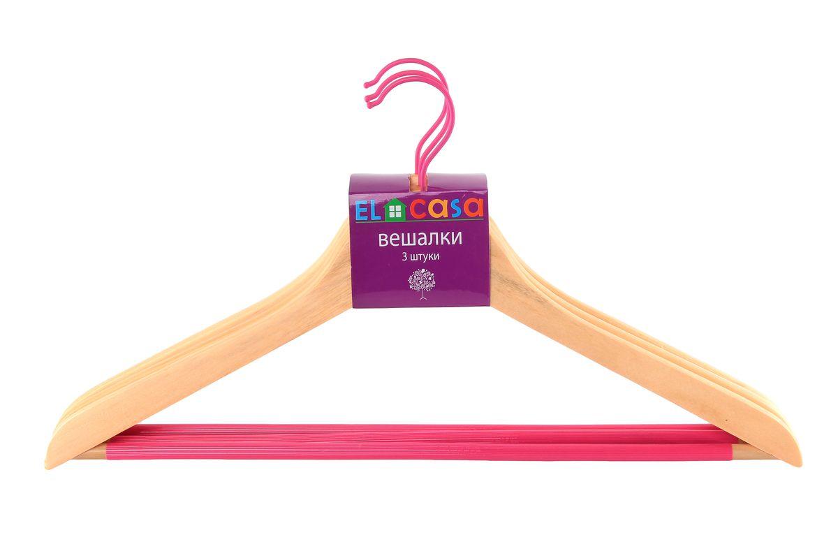 Набор вешалок для одежды El Casa Дуб, цвет: бежевый, розовый, 3 шт150063Набор El Casa Дуб, состоящий из трех вешалок, изготовленных из прочной натуральной древесины и металла, выдерживает нагрузку до 7 кг и имеет вращающийся крючок. Благодаря нескользящей накладке на перекладине, изделия идеально подходят для хранения одежды. Вешалка - это незаменимая вещь для того, чтобы ваша одежда всегда оставалась в хорошем состоянии. Комплектация: 3 шт. Размер вешалки: 23 см х 44,5 см х 1,2 см.