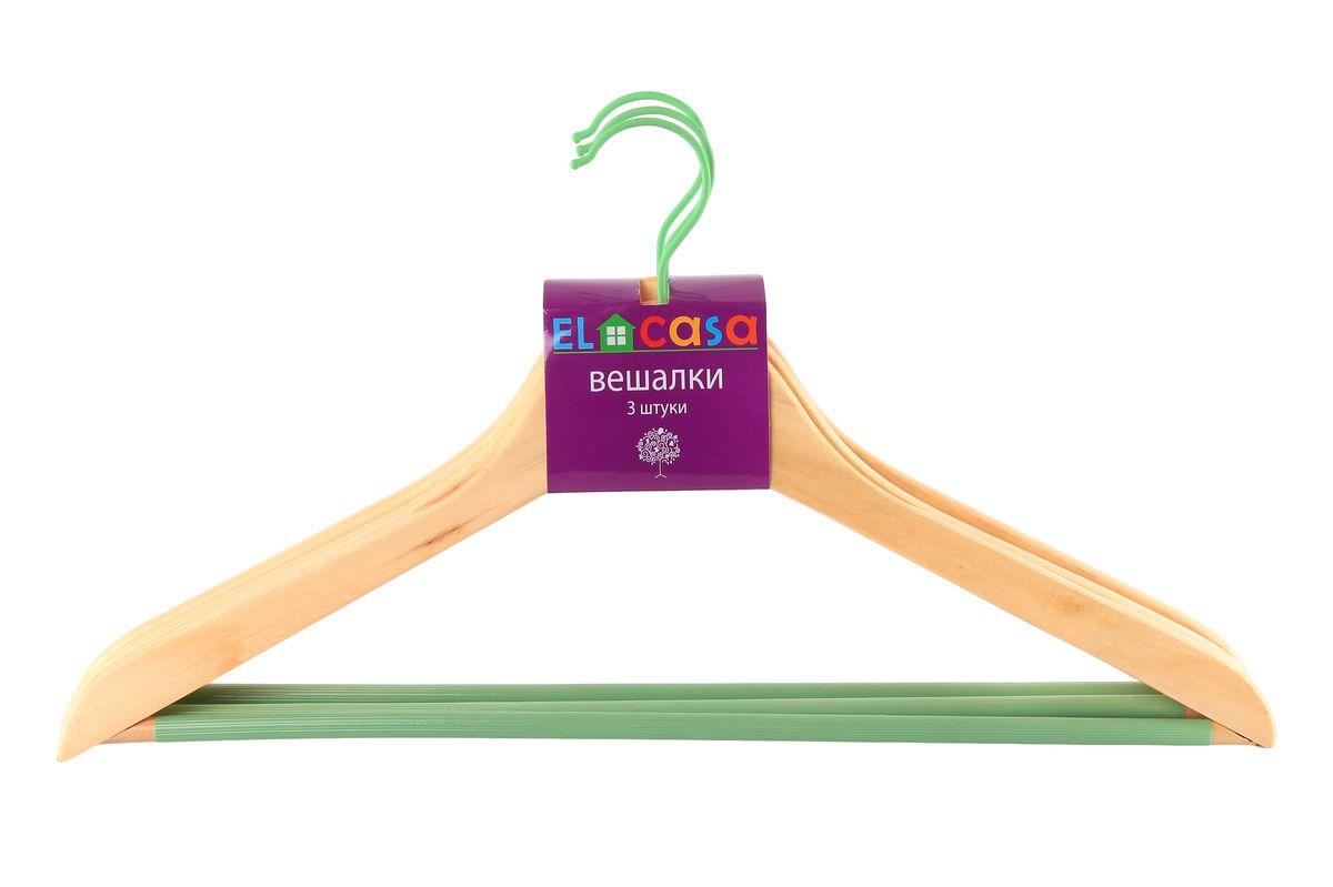 Набор вешалок для одежды El Casa Дуб, цвет: бежевый, зеленый, 3 шт150064Набор El Casa Дуб, состоящий из трех вешалок, изготовленных из прочной натуральной древесины и металла, выдерживает нагрузку до 7 кг и имеет вращающийся крючок. Благодаря нескользящей накладке на перекладине, изделия идеально подходят для хранения одежды. Вешалка - это незаменимая вещь для того, чтобы ваша одежда всегда оставалась в хорошем состоянии. Комплектация: 3 шт. Размер вешалки: 23 см х 44,5 см х 1,2 см.