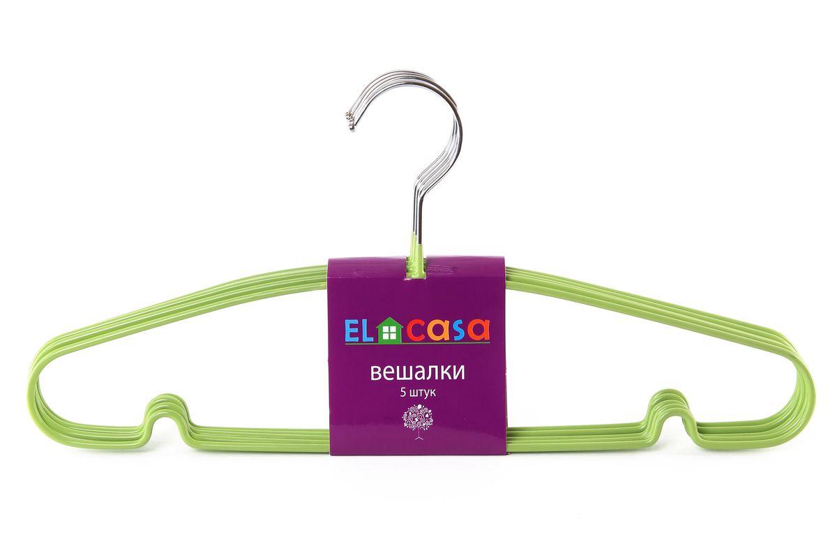 Набор вешалок El Casa, цвет: зеленый, 5 шт150069Набор вешалок El Casa, состоит из 5 однотонных вешалок, изготовленных из металла c антискользящим покрытием. Изделия имеют легкий и прочный каркас, закругленные края, перекладину и две выемки для юбок. Вешалка - это незаменимый аксессуар для того, чтобы одежда всегда оставалась в хорошем состоянии. Набор El Casa станет практичным и полезным в вашем гардеробе. С ним ваша одежда избежит ненужных растяжек и провисаний. Комплектация: 5 шт. Размер вешалки: 40,5 см х 0,5 см х 19 см.