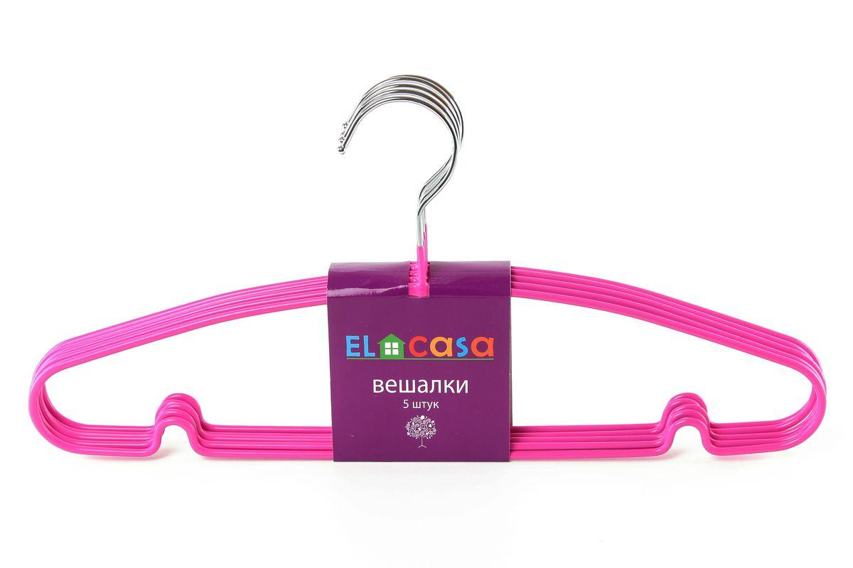 Набор вешалок El Casa, цвет: фуксия, 5 шт150070Набор вешалок El Casa, состоит из 5 однотонных вешалок, изготовленных из металла c антискользящим покрытием. Изделия имеют легкий и прочный каркас, закругленные края, перекладину и две выемки для юбок. Вешалка - это незаменимый аксессуар для того, чтобы одежда всегда оставалась в хорошем состоянии. Набор El Casa станет практичным и полезным в вашем гардеробе. С ним ваша одежда избежит ненужных растяжек и провисаний. Комплектация: 5 шт. Размер вешалки: 40,5 см х 0,5 см х 19 см.