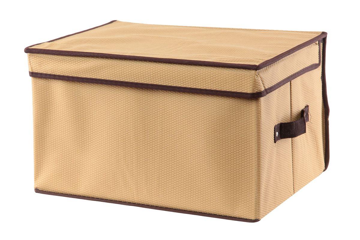 Кофр для хранения El Casa Соты, складной, цвет: бежевый, 40 x 30 x 25 см370012Складной кофр El Casa Соты изготовлен из высококачественного нетканого материала, который обеспечивает естественную вентиляцию, позволяя воздуху проникать внутрь, но не пропускает пыль. Вставки из плотного картона хорошо держат форму. Для удобства в обращении изделие оснащено ручками. В сложенном виде изделие занимает минимум места, его легко хранить и перевозить. В таком кофре удобно хранить всевозможные предметы: одежду, белье, книги, игрушки, рукоделие, диски. Яркий дизайн привнесет в ваш интерьер неповторимый шарм. Размер кофра (в собранном виде): 40 см х 30 см х 25 см.