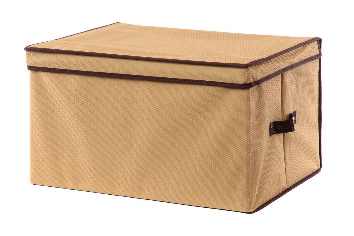 Кофр для хранения El Casa Соты, складной, цвет: бежевый, коричневый, 50 х 40 х 30 см370020Вместительный складной кофр El Casa Соты изготовлен из высококачественного нетканого материала, который обеспечивает естественную вентиляцию, позволяя воздуху проникать внутрь, но не пропускает пыль. Вставки из плотного картона хорошо держат форму. Для удобства в обращении изделие оснащено ручками. В сложенном виде изделие занимает минимум места, его легко хранить и перевозить. В таком кофре удобно хранить всевозможные предметы: одежду, белье, книги, игрушки, рукоделие, диски. Оригинальный дизайн сделает вашу гардеробную красивой и невероятно стильной. Размер кофра (в собранном виде): 50 см х 40 см х 30 см.