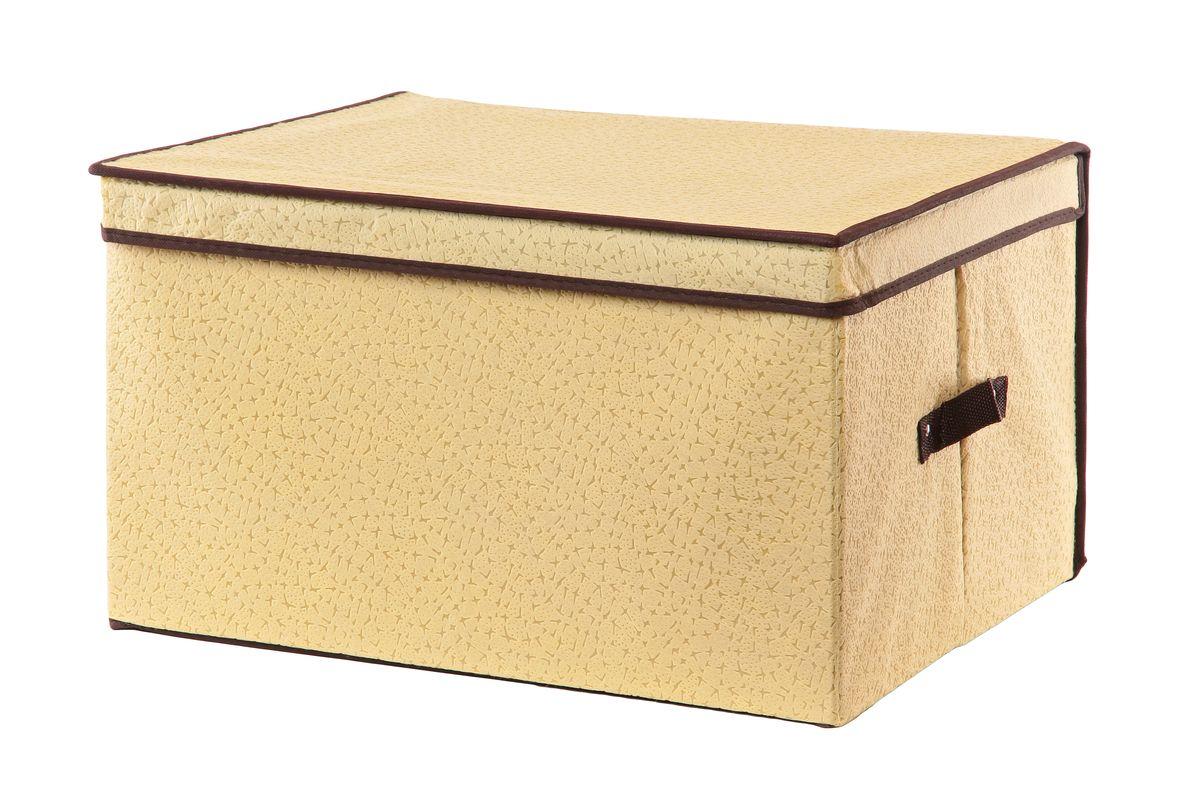 Кофр для хранения El Casa Звезды, складной, цвет: бежевый, 50 см x 40 см x 30 см370023Вместительный складной кофр El Casa Звезды изготовлен из высококачественного нетканого материала, который обеспечивает естественную вентиляцию, позволяя воздуху проникать внутрь, но не пропускает пыль. Вставки из плотного картона хорошо держат форму. Для удобства в обращении изделие оснащено ручками. В сложенном виде изделие занимает минимум места, его легко хранить и перевозить. В таком кофре удобно хранить всевозможные предметы: одежду, белье, книги, игрушки, рукоделие, диски. Оригинальный дизайн сделает вашу гардеробную красивой и невероятно стильной. Размер кофра (в собранном виде): 50 см х 40 см х 30 см.