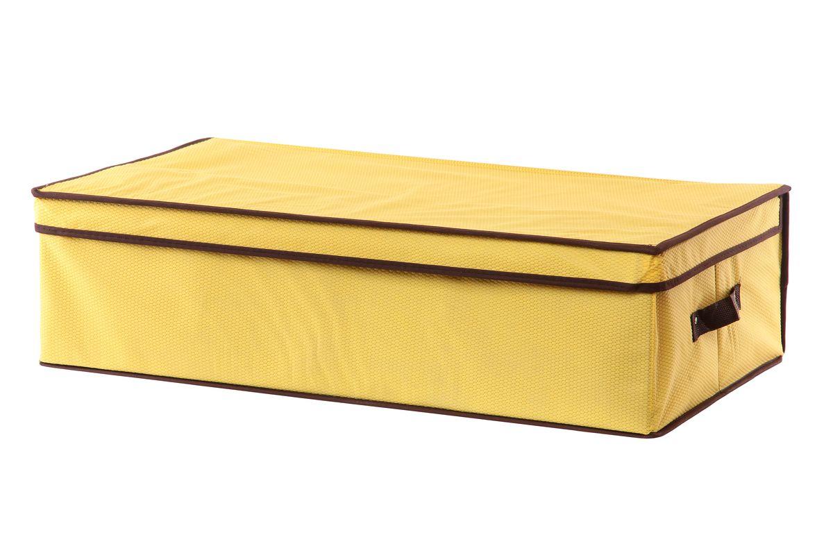 Кофр для хранения El Casa Соты, подкроватный, цвет: желтый, 70 см х 40 см х 20 см370035Складной кофр El Casa Соты, выполненный из высококачественного нетканого материала, позволяет сохранять естественную вентиляцию. Благодаря картонным вставкам, кофр прекрасно держит форму, складывается и раскладывается одним движением. Для удобства в обращении по бокам имеются ручки. В сложенном виде изделие занимает минимум места, его легко хранить, как на полке так и под кроватью. В такой кофр можно складывать всевозможные предметы: вещи, игрушки, рукоделие и многое другое. Яркий дизайн привнесет в ваш интерьер неповторимый шарм. Размер кофра (в собранном виде): 70 см х 40 см х 20 см.