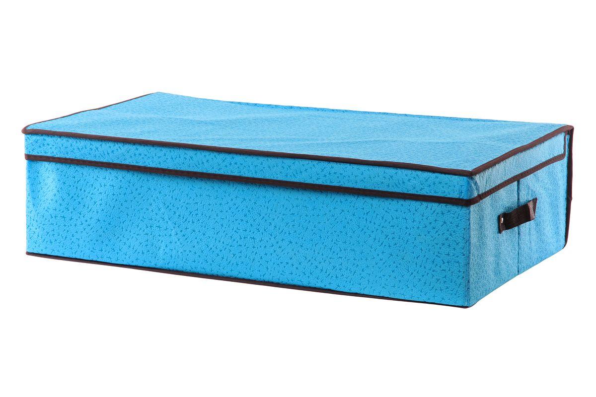 Кофр для хранения El Casa Звезды, подкроватный, цвет: голубой, 70 см х 40 см х 20 см370037Складной кофр El Casa Звезды, выполненный из высококачественного нетканого материала, позволяет сохранять естественную вентиляцию. Благодаря удобной конструкции складывается и раскладывается одним движением. Для удобства в обращении по бокам имеются ручки. В сложенном виде изделие занимает минимум места, его легко хранить и перевозить. В таком кофре можно хранить всевозможные предметы: вещи, игрушки, рукоделие и многое другое. Яркий дизайн привнесет в ваш интерьер неповторимый шарм. Размер кофра (в собранном виде): 70 см х 40 см х 20 см.