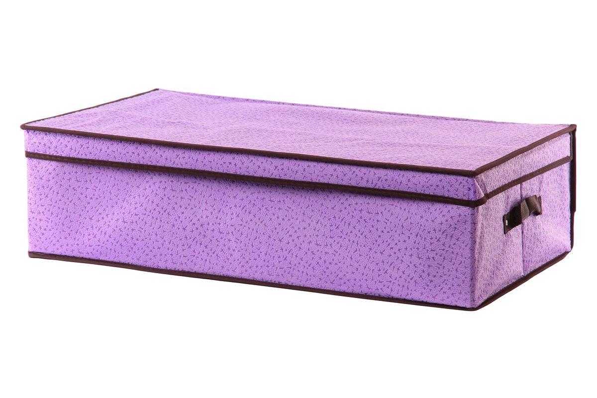 Кофр для хранения El Casa Звезды, подкроватный, цвет: фиолетовый, 70 х 40 х 20 см370038Складной кофр El Casa Звезды, выполненный из высококачественного нетканого материала, позволяет сохранять естественную вентиляцию. Благодаря удобной конструкции складывается и раскладывается одним движением. Для удобства в обращении по бокам имеются ручки. В сложенном виде изделие занимает минимум места, его легко хранить и перевозить. В таком кофре можно хранить всевозможные предметы: вещи, игрушки, рукоделие и многое другое. Яркий дизайн привнесет в ваш интерьер неповторимый шарм. Размер кофра (в собранном виде): 70 см х 40 см х 20 см.