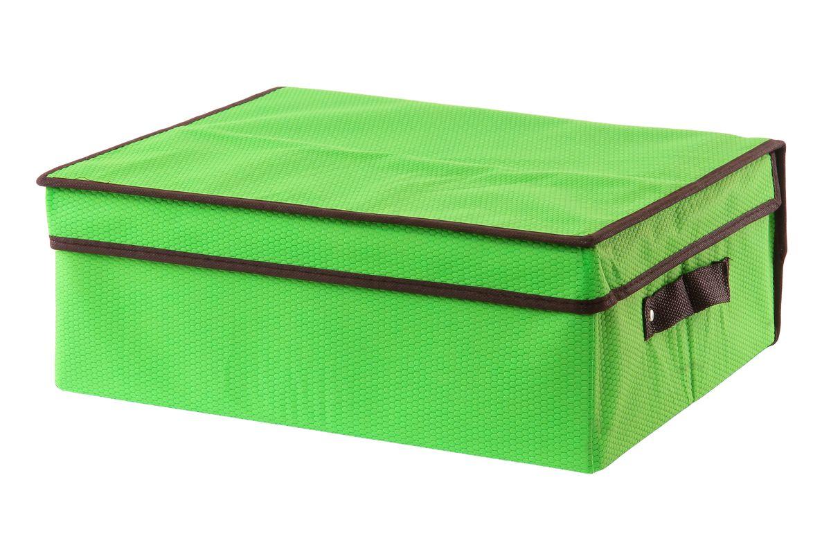 Кофр для хранения El Casa Соты, складной, цвет: зеленый, 40 x 33 x 16 см370041Складной кофр El Casa Соты изготовлен из высококачественного нетканого материала, который обеспечивает естественную вентиляцию, позволяя воздуху проникать внутрь, но не пропускает пыль. Вставки из плотного картона хорошо держат форму. Для удобства в обращении изделие оснащено ручками. В сложенном виде изделие занимает минимум места, его легко хранить и перевозить. В таком кофре удобно хранить всевозможные предметы: одежду, белье, книги, игрушки, рукоделие, диски. Яркий дизайн привнесет в ваш интерьер неповторимый шарм. Размер кофра (в собранном виде): 40 см х 33 см х 16 см.
