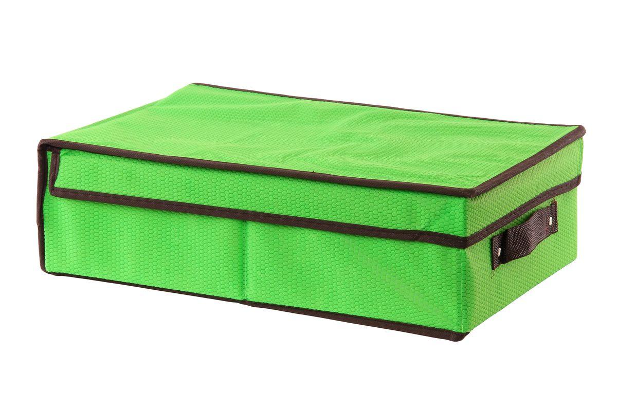 Кофр для хранения El Casa Соты, складной, цвет: зеленый, 27 см x 41 см x 12 см370049Компактный складной кофр El Casa Соты изготовлен из высококачественного нетканого материала, который обеспечивает естественную вентиляцию, позволяя воздуху проникать внутрь, но не пропускает пыль. Вставки из плотного картона хорошо держат форму. Кофр оснащен удобной ручкой и закрывается откидной крышкой. Оригинальный дизайн подойдет к любому интерьеру и гармонично будет смотреться в шкафу и на полках. Размер кофра (в собранном виде): 27 см х 41 см х 12 см.