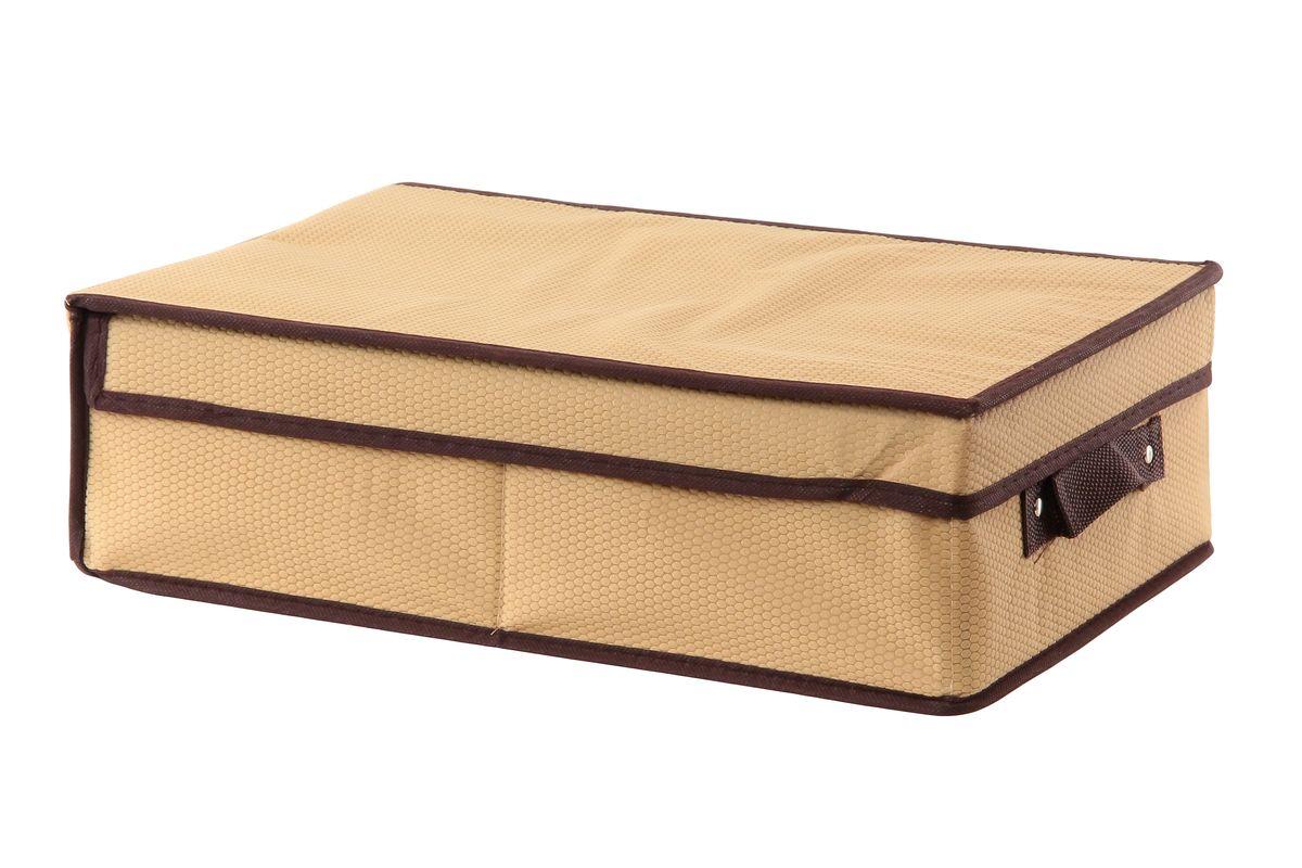 Кофр для хранения El Casa Соты, складной, цвет: бежевый, 27 x 41 x 12 см370052Компактный складной кофр El Casa Соты изготовлен из высококачественного нетканого материала, который обеспечивает естественную вентиляцию, позволяя воздуху проникать внутрь, но не пропускает пыль. Вставки из плотного картона хорошо держат форму. Кофр оснащен удобной ручкой и закрывается откидной крышкой. Оригинальный дизайн подойдет к любому интерьеру и гармонично будет смотреться в шкафу и на полках. Размер кофра (в собранном виде): 27 см х 41 см х 12 см.