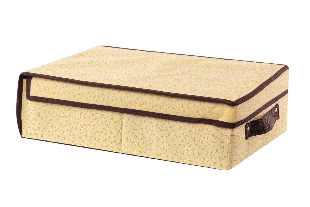 Кофр для хранения El Casa Звезды, складной, цвет: бежевый, 27 x 41 x 12 см370055Вместительный складной кофр El Casa Звезды изготовлен из высококачественного нетканого материала, который обеспечивает естественную вентиляцию, позволяя воздуху проникать внутрь, но не пропускает пыль. Вставки из плотного картона хорошо держат форму. Кофр оснащен удобной ручкой и закрывается откидной крышкой. Оригинальный дизайн подойдет к любому интерьеру и гармонично будет смотреться в шкафу и на полках. Размер кофра (в собранном виде): 27 см х 41 см х 12 см.