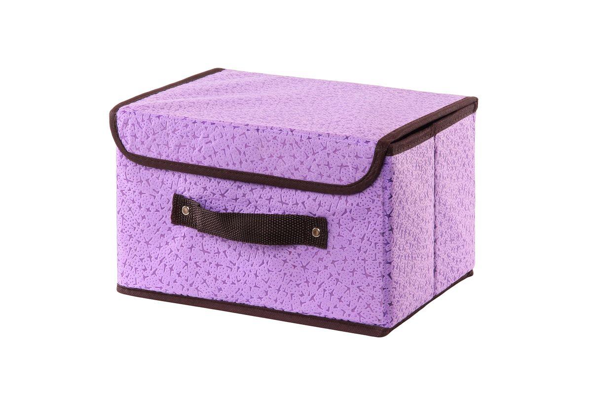 Кофр для хранения El Casa Звезды, складной, цвет: фиолетовый, 26 х 20 х 16 см370062Компактный складной кофр El Casa Звезды изготовлен из высококачественного нетканого материала, который обеспечивает естественную вентиляцию, позволяя воздуху проникать внутрь, но не пропускает пыль. Вставки из плотного картона хорошо держат форму. Кофр закрывается крышкой на застежку липучку. Оригинальный дизайн подойдет к любому интерьеру и гармонично будет смотреться в шкафу и на полках. Размер кофра (в собранном виде): 26 см х 20 см х 16 см.