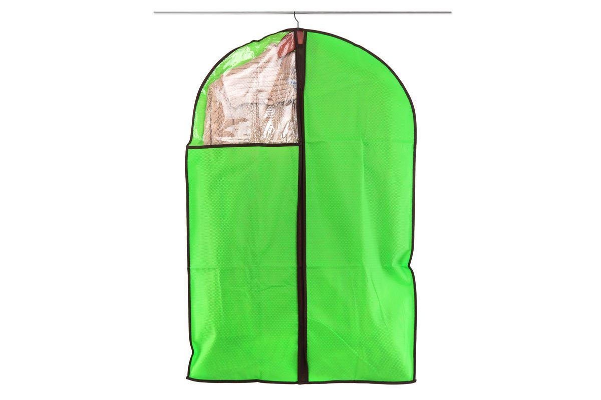 Чехол для одежды El Casa Соты, подвесной, цвет: зеленый, 60 x 90 см370089Подвесной чехол для одежды El Casa Соты изготовлен из высококачественного нетканого материала, который обеспечивает естественную вентиляцию, позволяя воздуху проникать внутрь, но не пропускает пыль. Чехол очень удобен в использовании, а благодаря его форме, одежда не мнется даже при длительном хранении. Специальная прозрачная вставка позволяет видеть содержимое внутри чехла, не открывая его. Изделие легко открывается и закрывается застежкой-молнией. Чехол для одежды будет очень полезен при транспортировке вещей на близкие и дальние расстояния, при длительном хранении сезонной одежды, а также при ежедневном хранении вещей из деликатных тканей.