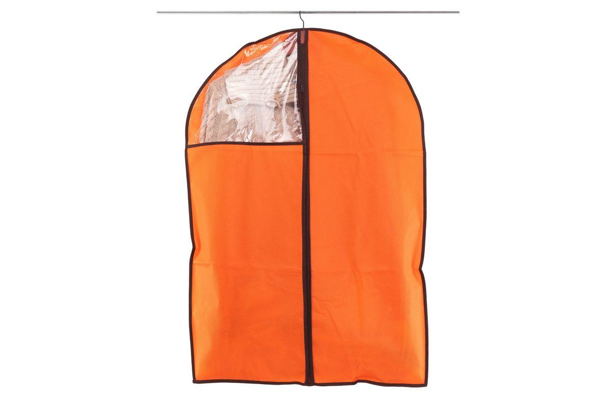 Чехол для одежды El Casa Соты, подвесной, цвет: оранжевый, 60 x 90 см370090Подвесной чехол для одежды El Casa Соты изготовлен из высококачественного нетканого материала, который обеспечивает естественную вентиляцию, позволяя воздуху проникать внутрь, но не пропускает пыль. Чехол очень удобен в использовании, а благодаря его форме, одежда не мнется даже при длительном хранении. Специальная прозрачная вставка позволяет видеть содержимое внутри чехла, не открывая его. Изделие легко открывается и закрывается застежкой-молнией. Чехол для одежды будет очень полезен при транспортировке вещей на близкие и дальние расстояния, при длительном хранении сезонной одежды, а также при ежедневном хранении вещей из деликатных тканей.