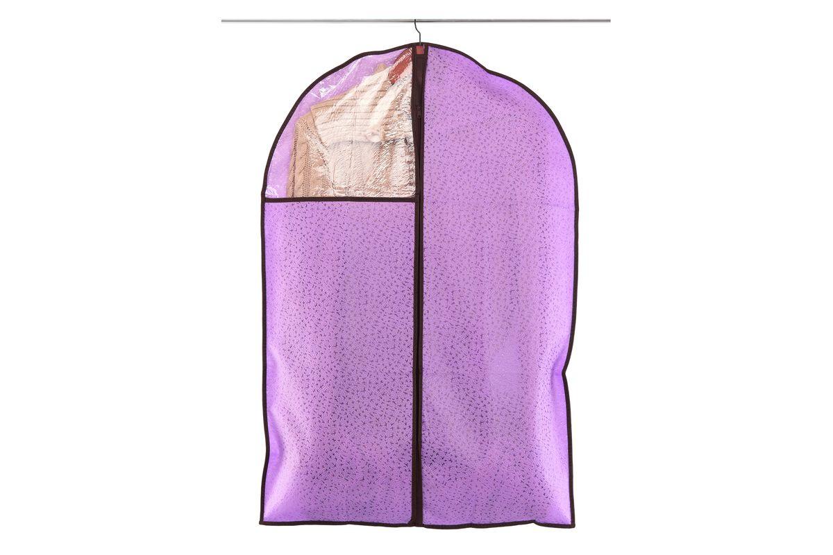 Чехол для одежды El Casa Звезды, подвесной, цвет: фиолетовый, 60 х 90 см370094Чехол для одежды El Casa Звезды, изготовленный из высококачественного нетканого материала, защитит вашу одежду от пыли и других загрязнений, а также поможет надолго сохранить ее безупречный вид. Благодаря особой фактуре чехол не пропускает пыль, но в то же время позволяет воздуху свободно проникать внутрь, обеспечивая естественную вентиляцию. Материал легок и удобен, не образует складок. Чехол снабжен прозрачной вставкой из ПВХ, что позволяет легко просматривать содержимое. Оригинальный дизайн сделает вашу гардеробную красивой и невероятно стильной.