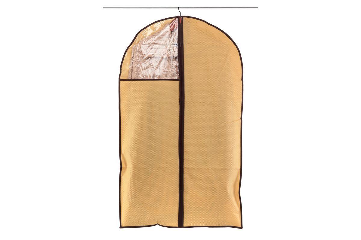 Чехол для одежды El Casa Соты, подвесной, цвет: бежевый, 60 х 100 см370100Подвесной чехол для одежды El Casa Соты изготовлен из высококачественного нетканого материала, который обеспечивает естественную вентиляцию, позволяя воздуху проникать внутрь, но не пропускает пыль. Чехол очень удобен в использовании, а благодаря его форме, одежда не мнется даже при длительном хранении. Специальная прозрачная вставка позволяет видеть содержимое внутри чехла, не открывая его. Изделие легко открывается и закрывается застежкой-молнией. Чехол для одежды будет очень полезен при транспортировке вещей на близкие и дальние расстояния, при длительном хранении сезонной одежды, а также при ежедневном хранении вещей из деликатных тканей.