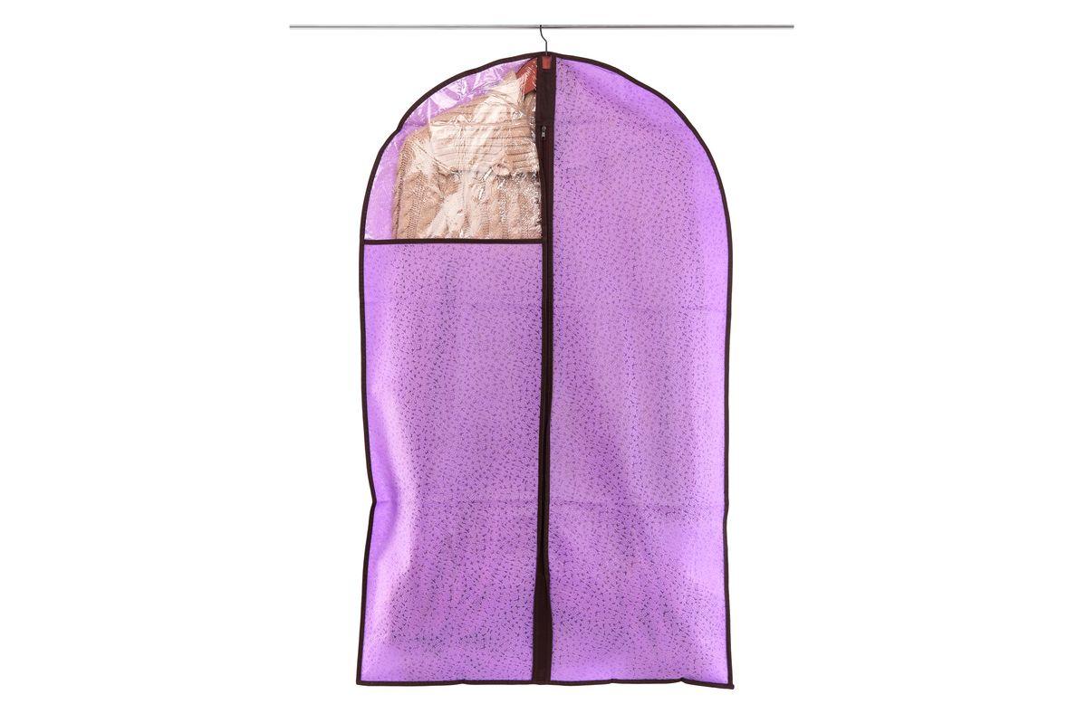 Чехол для одежды El Casa Звезды, подвесной, цвет: фиолетовый, 60 х 100 см370102Подвесной чехол для одежды El Casa Звезды изготовлен из высококачественного нетканого материала, который обеспечивает естественную вентиляцию, позволяя воздуху проникать внутрь, но не пропускает пыль. Чехол очень удобен в использовании, а благодаря его форме, одежда не мнется даже при длительном хранении. Специальная прозрачная вставка позволяет видеть содержимое внутри чехла, не открывая его. Изделие легко открывается и закрывается застежкой-молнией. Чехол для одежды будет очень полезен при транспортировке вещей на близкие и дальние расстояния, при длительном хранении сезонной одежды, а также при ежедневном хранении вещей из деликатных тканей.
