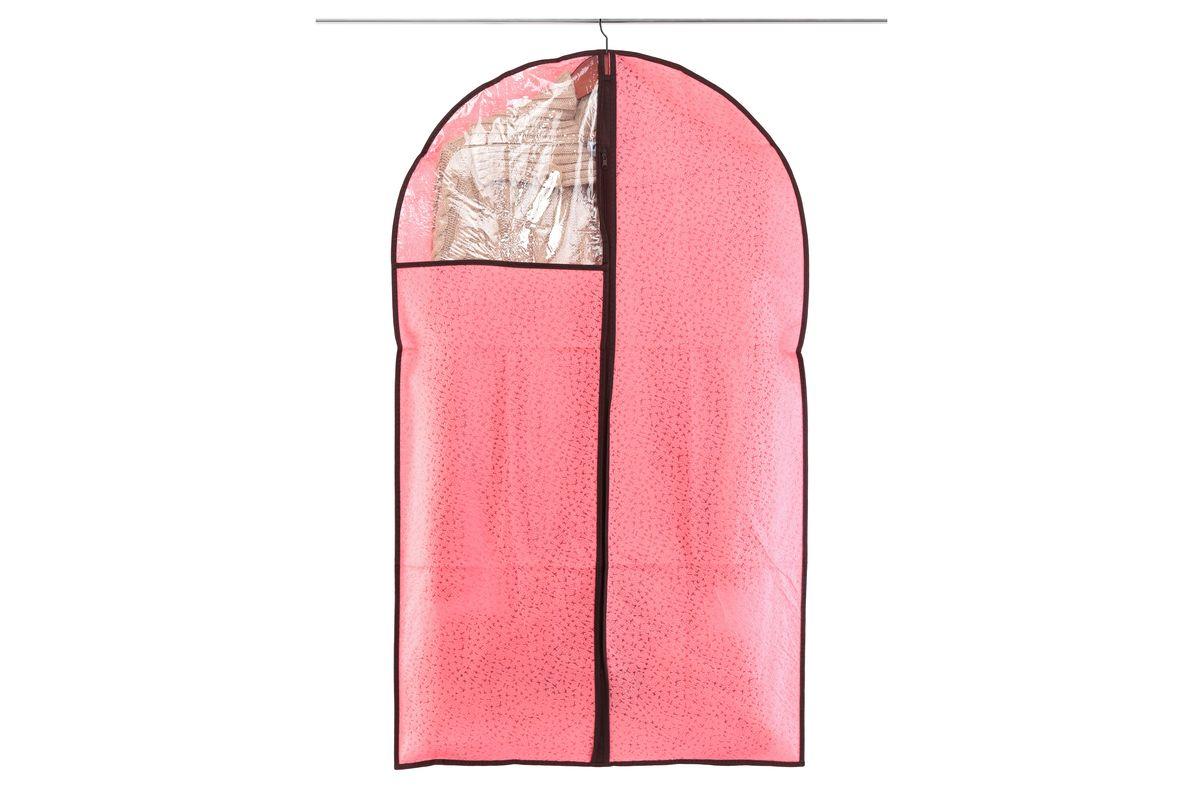 Чехол для одежды El Casa Звезды, подвесной, цвет: розовый, 60 х 100 см370104Подвесной чехол для одежды El Casa Звезды изготовлен из высококачественного нетканого материала, который обеспечивает естественную вентиляцию, позволяя воздуху проникать внутрь, но не пропускает пыль. Чехол очень удобен в использовании, а благодаря его форме, одежда не мнется даже при длительном хранении. Специальная прозрачная вставка позволяет видеть содержимое внутри чехла, не открывая его. Изделие легко открывается и закрывается застежкой-молнией. Чехол для одежды будет очень полезен при транспортировке вещей на близкие и дальние расстояния, при длительном хранении сезонной одежды, а также при ежедневном хранении вещей из деликатных тканей.