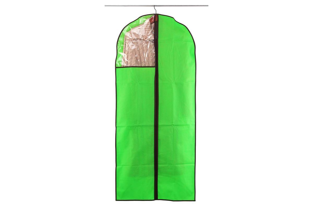 Чехол для одежды El Casa Соты, подвесной, цвет: зеленый, 60 x 137 см370105Подвесной чехол для одежды El Casa Соты изготовлен из высококачественного нетканого материала, который обеспечивает естественную вентиляцию, позволяя воздуху проникать внутрь, но не пропускает пыль. Чехол очень удобен в использовании, а благодаря его форме, одежда не мнется даже при длительном хранении. Специальная прозрачная вставка позволяет видеть содержимое внутри чехла, не открывая его. Изделие легко открывается и закрывается застежкой-молнией. Чехол для одежды будет очень полезен при транспортировке вещей на близкие и дальние расстояния, при длительном хранении сезонной одежды, а также при ежедневном хранении вещей из деликатных тканей.