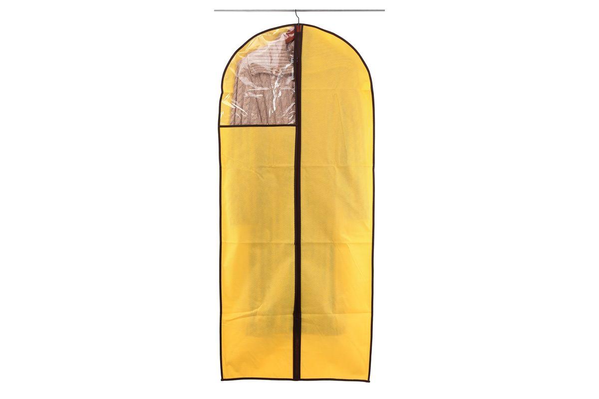 Чехол для одежды El Casa Соты, подвесной, цвет: желтый, 60 x 137 см370107Подвесной чехол для одежды El Casa Соты изготовлен из высококачественного нетканого материала, который обеспечивает естественную вентиляцию, позволяя воздуху проникать внутрь, но не пропускает пыль. Чехол очень удобен в использовании, а благодаря его форме, одежда не мнется даже при длительном хранении. Специальная прозрачная вставка позволяет видеть содержимое внутри чехла, не открывая его. Изделие легко открывается и закрывается застежкой-молнией. Чехол для одежды будет очень полезен при транспортировке вещей на близкие и дальние расстояния, при длительном хранении сезонной одежды, а также при ежедневном хранении вещей из деликатных тканей.