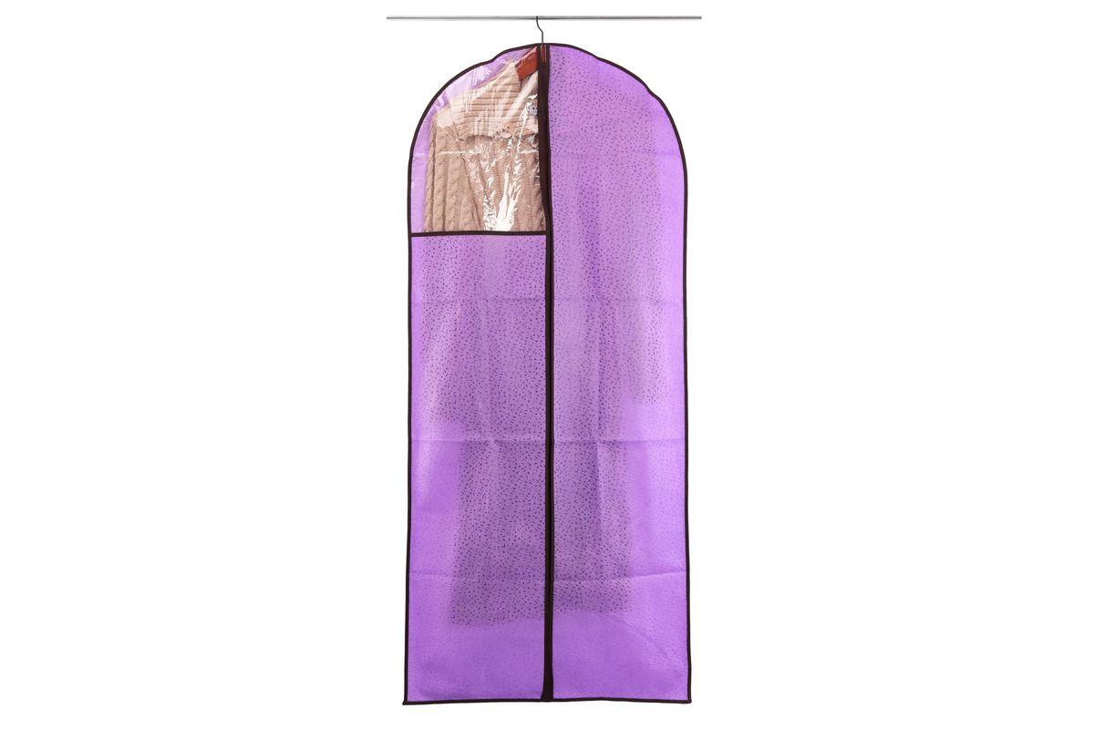 Чехол для одежды El Casa Звезды, подвесной, цвет: фиолетовый, 60 х 137 см370110Подвесной чехол для одежды El Casa Звезды изготовлен из высококачественного нетканого материала, который обеспечивает естественную вентиляцию, позволяя воздуху проникать внутрь, но не пропускает пыль. Чехол очень удобен в использовании, а благодаря его форме, одежда не мнется даже при длительном хранении. Специальная прозрачная вставка позволяет видеть содержимое внутри чехла, не открывая его. Изделие легко открывается и закрывается застежкой-молнией. Чехол для одежды будет очень полезен при транспортировке вещей на близкие и дальние расстояния, при длительном хранении сезонной одежды, а также при ежедневном хранении вещей из деликатных тканей.
