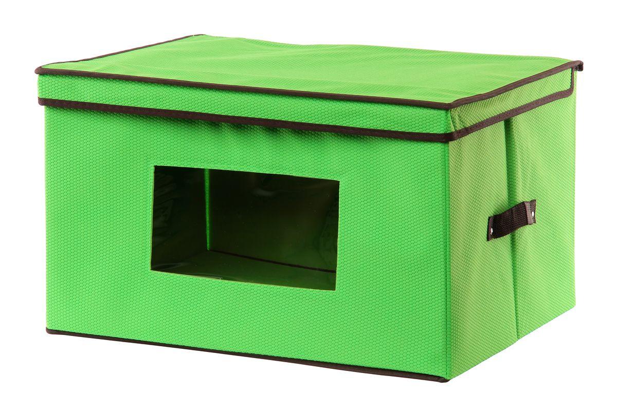 Кофр для хранения El Casa Соты, складной, с прозрачной вставкой, цвет: салатовый, 50 x 40 x 30 см370137Вместительный складной кофр El Casa Соты изготовлен из высококачественного нетканого материала, который обеспечивает естественную вентиляцию, позволяя воздуху проникать внутрь, но не пропускает пыль. Вставки из плотного картона хорошо держат форму, а прозрачная вставка из ПВХ позволяет легко просматривать содержимое. Для удобства в обращении изделие оснащено ручками. В сложенном виде изделие занимает минимум места, его легко хранить и перевозить. В таком кофре удобно хранить всевозможные предметы: одежду, белье, книги, игрушки, рукоделие, диски. Оригинальный дизайн сделает вашу гардеробную красивой и невероятно стильной. Размер кофра (в собранном виде): 50 см х 40 см х 30 см.