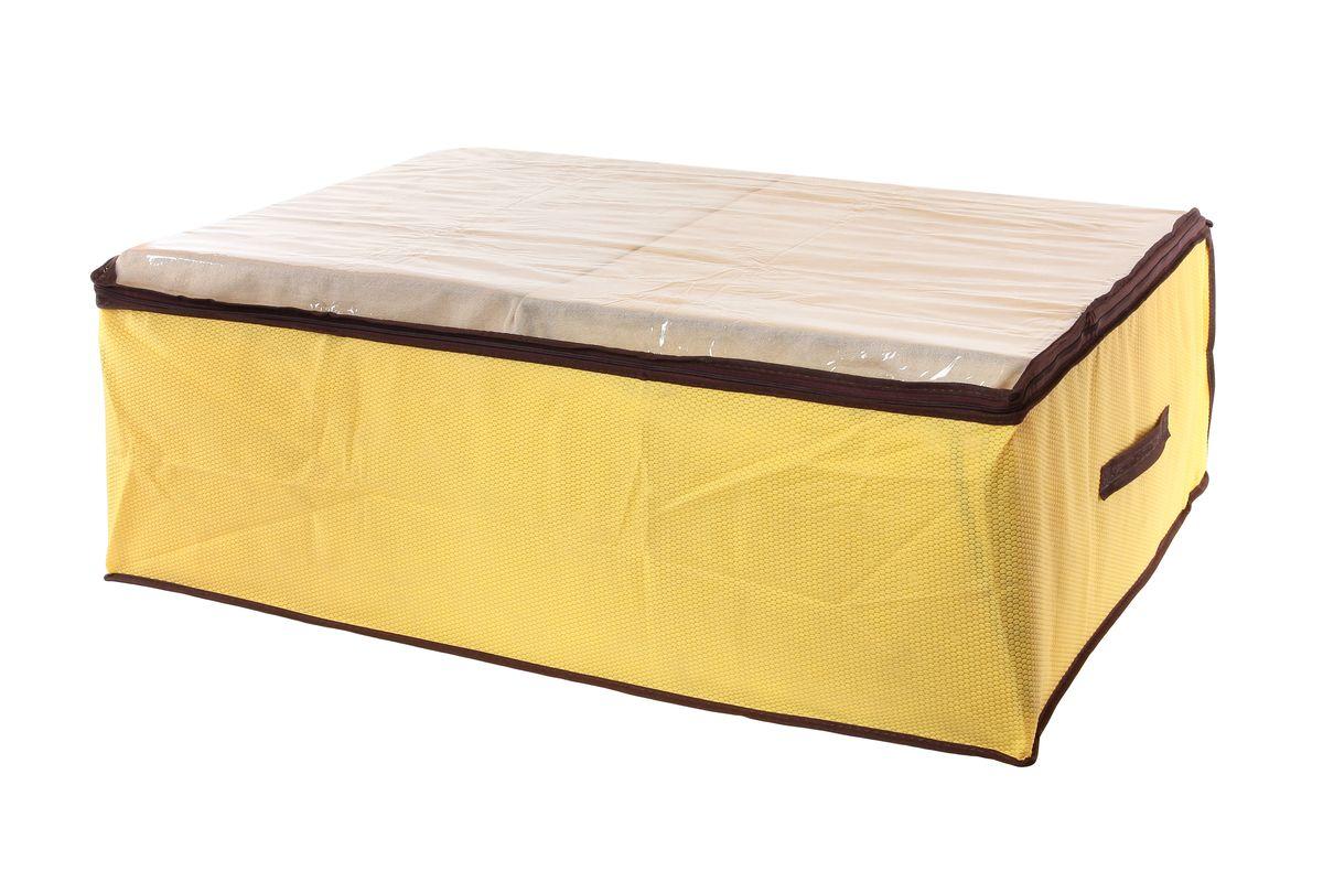 Кофр для хранения El Casa Соты, цвет: желтый, 80 x 60 x 25 см370179Вместительный кофр El Casa Соты, изготовленный из дышащего нетканого волокна, предназначен для хранения одеял, пледов и домашнего текстиля. Кофр снабжен прозрачной вставкой из ПВХ, что позволяет легко просматривать содержимое. Для удобства в обращении по бокам имеются ручки. Специальный нетканый материал позволяет воздуху проникать внутрь, при этом надежно защищая вещи от грязи, пыли и насекомых. Закрывается на застежку-молнию. Оригинальный дизайн сделает вашу гардеробную красивой и невероятно стильной. Размер кофра (в собранном виде): 80 см х 60 см х 25 см.