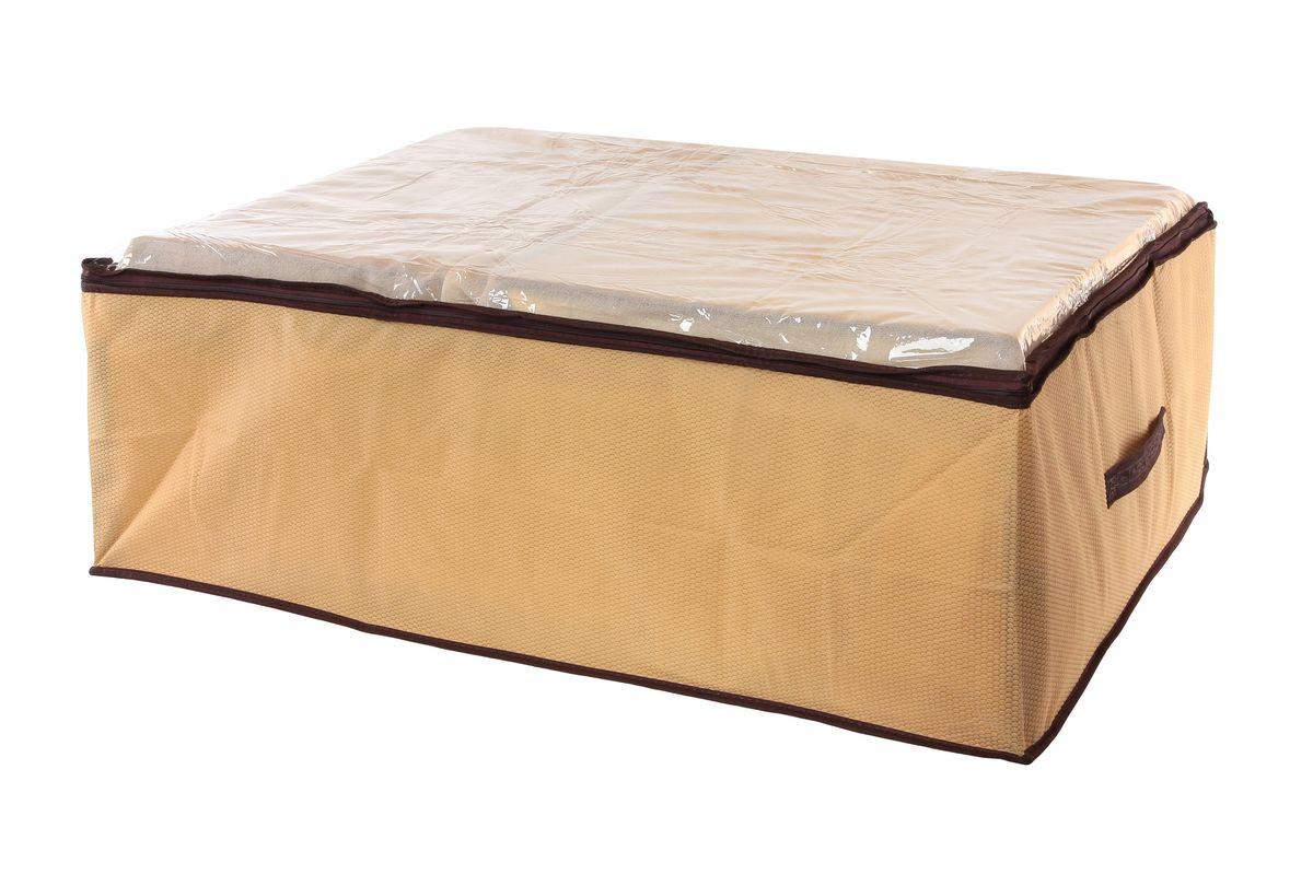 Кофр для хранения El Casa Соты, цвет: бежевый, 80 x 60 x 25 см370180Вместительный кофр El Casa Соты, изготовленный из дышащего нетканого волокна, предназначен для хранения одеял, пледов и домашнего текстиля. Кофр снабжен прозрачной вставкой из ПВХ, что позволяет легко просматривать содержимое. Специальный нетканый материал позволяет воздуху проникать внутрь, при этом надежно защищая вещи от грязи, пыли и насекомых. Закрывается на застежку-молнию. Оригинальный дизайн сделает вашу гардеробную красивой и невероятно стильной. Размер кофра (в собранном виде): 80 см х 60 см х 25 см.