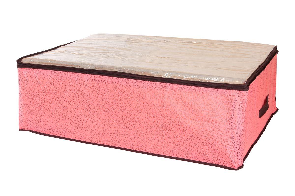 Кофр для хранения одеял и пледов El Casa Звезды, цвет: розовый, 80 х 60 х 25 см370184Вместительный кофр El Casa Звезды, изготовленный из дышащего нетканого волокна, предназначен для хранения одеял, пледов и домашнего текстиля. Кофр снабжен прозрачной крышкой из ПВХ, что позволяет легко просматривать содержимое. Специальный нетканый материал позволяет воздуху проникать внутрь, при этом надежно защищая вещи от грязи, пыли и насекомых. Закрывается на застежку-молнию. Оригинальный дизайн сделает вашу гардеробную красивой и невероятно стильной. Размер кофра (в собранном виде): 80 см х 60 см х 25 см.