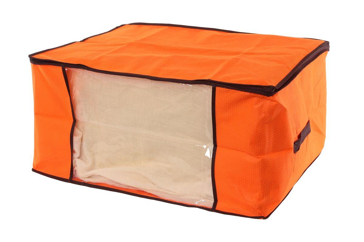 Кофр для хранения El Casa Соты, цвет: оранжевый, 60 х 45 х 30 см370186Вместительный кофр El Casa Соты, изготовленный из дышащего нетканого волокна, предназначен для хранения одеял, пледов и домашнего текстиля. Кофр снабжен прозрачной вставкой из ПВХ, что позволяет легко просматривать содержимое. Специальный нетканый материал позволяет воздуху проникать внутрь, при этом надежно защищая вещи от грязи, пыли и насекомых. Закрывается на застежку-молнию. Оригинальный дизайн сделает вашу гардеробную красивой и невероятно стильной. Размер кофра (в собранном виде): 60 см х 45 см х 30 см.