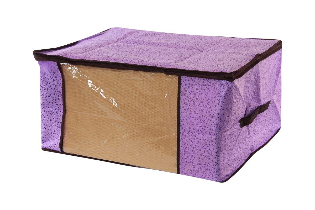 Кофр для хранения одеял и пледов El Casa Звезды, цвет: фиолетовый, 60 х 45 х 30 см370190Вместительный кофр El Casa Звезды, изготовленный из дышащего нетканого волокна, предназначен для хранения одеял, пледов и домашнего текстиля. Кофр снабжен прозрачной вставкой из ПВХ, что позволяет легко просматривать содержимое. Для удобства в обращении по бокам имеются ручки. Специальный нетканый материал позволяет воздуху проникать внутрь, при этом надежно защищая вещи от грязи, пыли и насекомых. Закрывается на застежку-молнию. Оригинальный дизайн сделает вашу гардеробную красивой и невероятно стильной. Размер кофра (в собранном виде): 60 см х 45 см х 30 см.