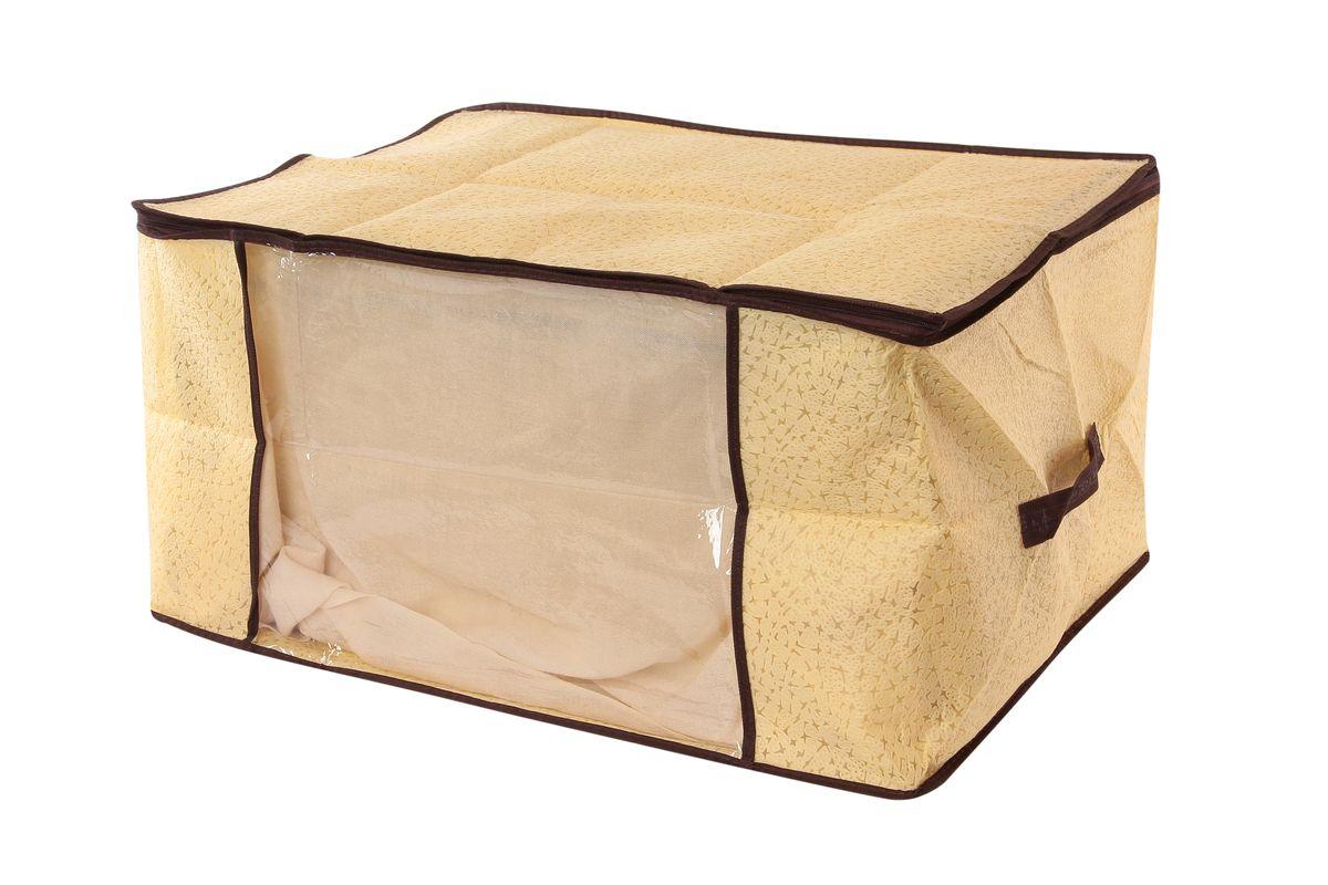 Кофр для хранения одеял и пледов El Casa Звезды, цвет: бежевый, 60 см х 45 см х 30 см370191Вместительный кофр El Casa Звезды, изготовленный из дышащего нетканого волокна, предназначен для хранения одеял, пледов и домашнего текстиля. Кофр снабжен прозрачной вставкой из ПВХ, что позволяет легко просматривать содержимое. Для удобства в обращении по бокам имеются ручки. Специальный нетканый материал позволяет воздуху проникать внутрь, при этом надежно защищая вещи от грязи, пыли и насекомых. Закрывается на застежку-молнию. Оригинальный дизайн сделает вашу гардеробную красивой и невероятно стильной. Размер кофра (в собранном виде): 60 см х 45 см х 30 см.