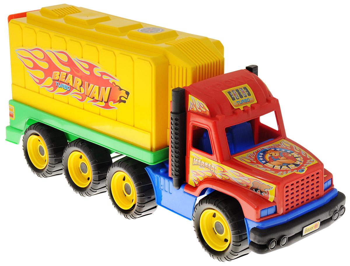 Bauer Грузовик Медведь цвет кабины красный166_кабина краснаяЯркий грузовик Bauer Медведь, изготовленный из прочного безопасного материала, отлично подойдет ребенку для различных игр. Машина оборудована вместительным открывающимся кузовом и двумя выхлопными трубами. Кузов отсоединяется. Восемь больших колес со свободным ходом и крупным протектором обеспечивают грузовику устойчивость и хорошую проходимость. Кабина и кузов оформлены яркими наклейками. С таким грузовиком ваш ребенок сможет прекрасно провести время дома или на улице, придумывая различные истории.