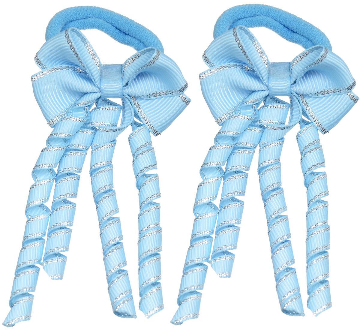 Резинка для волос Baby\'s Joy, цвет: голубой, 2 шт. MN 133 ( MN 133_голубой/завитушка )