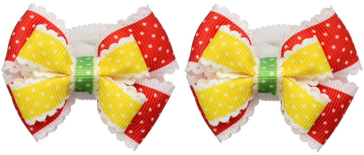 Резинка для волос Baby\'s Joy, цвет: красный, желтый, 2 шт. MN 13 ( MN 13_желтый/красный )