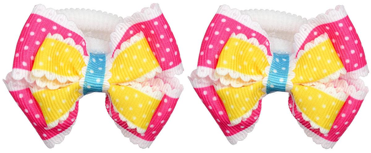 Резинка для волос Baby\'s Joy, цвет: малиновый, желтый, 2 шт. MN 13 ( MN 13_желтый/малиновый )
