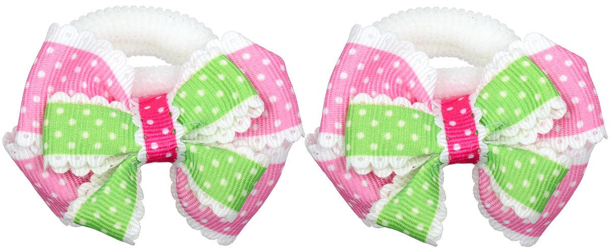 Резинка для волос Baby\'s Joy, цвет: розовый, зеленый, 2 шт. MN 13 ( MN 13_розовый/зеленый )