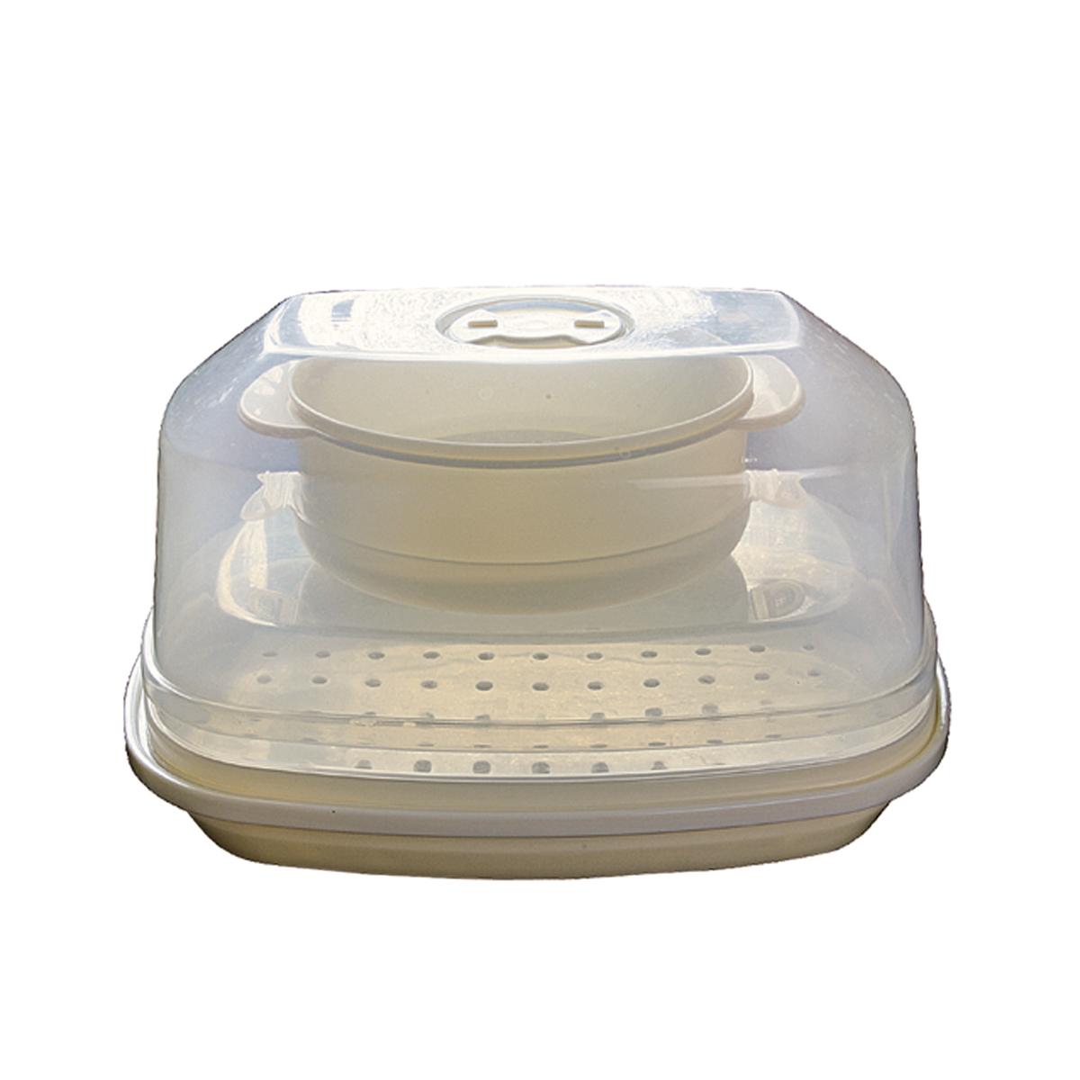 Набор пароварок для СВЧ Dekok, 2 шт. ST-501ST-501Набор Dekok состоит из двух поддонов и трех крышек, предназначенных для приготовления еды в микроволновой печи. Мощность СВЧ печи позволяет существенно ускорить время приготовления продуктов по сравнению с традиционной варкой. За несколько минут вы получаете полноценную здоровую еду! Доказано, что приготовление овощей, рыбных и мясных блюд на пару прекрасно сохраняет витамин С, минеральные вещества и микроэлементы. Пароварка не высушивает продукт, а напитывает его влагой, делая его сочным и мягким. Благодаря встроенному клапану можно контролировать паровое давление. Пароварку с продуктами можно хранить в морозильной камере. Корпус пароварки легко моется в посудомоечной машине. Размер поддонов: 28 см x 19 см x 4 см; 18 см х 12,5 см х 5,5 см. Размер крышек: 18,5 см x 27 см x 11 см; 27,5 см х 18,5 см х 5 см; 19 см х 13 см х 2,5 см.