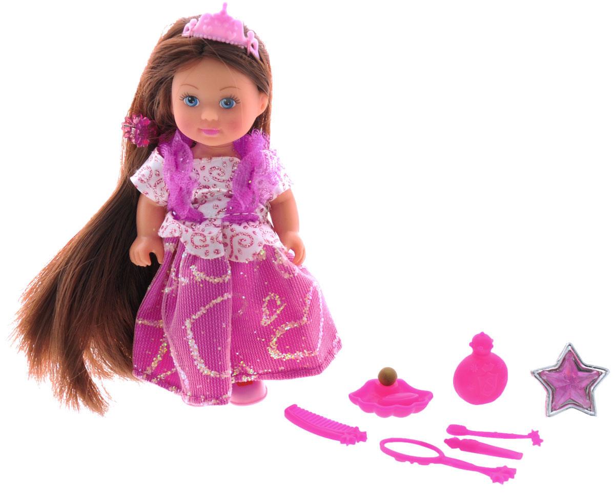 Simba Мини-кукла Еви Rapunzel цвет платья розовый5737057_брюнетка в розовомМини-кукла Simba Еви Rapunzel порадует любую девочку и надолго увлечет ее. Малышка Еви одета в длинное блестящее платье, а на голове у нее розовая диадема. Вашей дочурке непременно понравится заплетать длинные волосы куклы, придумывая разнообразные прически. В комплекте с куклой прилагаются аксессуары: расческа, зеркальце, заколка и другие. Также в наборе имеется кольцо для вашей дочурки. Руки и ноги и куклы подвижны, благодаря чему ей можно придавать разнообразные позы. Игры с куклой способствуют эмоциональному развитию, помогают формировать воображение и художественный вкус, а также разовьют в вашей малышке чувство ответственности и заботы. Великолепное качество исполнения делают эту куколку чудесным подарком к любому празднику.