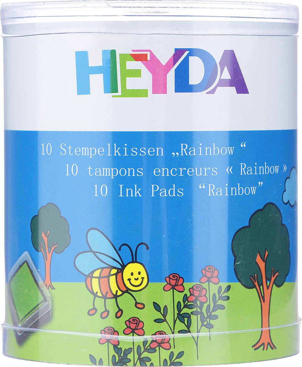 Штемпельная подушка Heyda для штампов, 10 шт2048884-70Набор Heyda состоит из 10 штемпельных подушечек, предназначенных для использования с ручными штампами. Подушечки уже заправлены штемпельными разноцветными красками. Краски быстросохнущие, не содержат кислоты, оттиски получаются четкими даже на темной бумаге. Можно использовать для любой поверхности бумаги и картона. Штемпельные подушечки прекрасно подойдут для декора и оформления творческих работ в различных техниках, таких как скрапбукинг, оформление подарочных конвертов, коробок и многого другого. Оттиск такой печатью разнообразит вашу работу и добавит вдохновения для новых идей. Подушечки хранятся в пластиковых коробочках, что предотвращает их от высыхания.