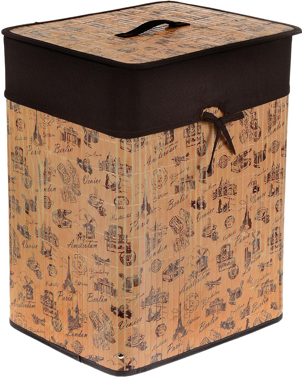 Корзина для белья Valiant, складная, с крышкой, цвет: коричневый, темно-коричневый, 30 см х 40 см х 50 смTR-BB-XLКорзина для белья Valiant изготовлена из бамбука и предназначена для сбора и хранения вещей перед стиркой. Корзина имеет каркасную конструкцию, которая обеспечивает легкость складывания и раскладывания корзины. Компактная и легкая, она не занимает много места, аккуратно хранит белье. Изделие оснащено легкой крышкой. Корзина для белья Valiant со стильным дизайном на тему путешествий гармонично смотрится в современном интерьере и станет незаменимым аксессуаром.