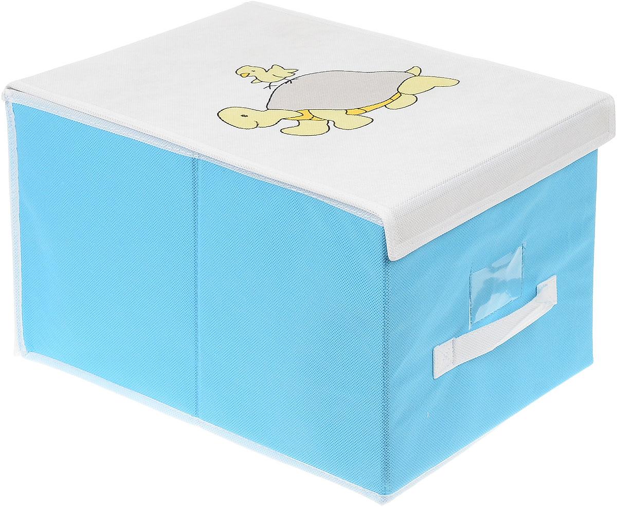 Чехол для хранения Voila Baby, цвет: голубой, белый, 30 х 40 х 25 смCOVLSCBY02_голубойЧехол Voila Baby выполнен из дышащего нетканого материала (полипропилен), безопасного в использовании. Изделие предназначено для хранения вещей. Он защитит вещи от повреждений, пыли, влаги и загрязнений во время хранения и транспортировки. Чехол идеально подходит для хранения детских вещей и игрушек. Жесткий каркас из плотного толстого картона, обеспечивает устойчивость конструкции. Изделие оформлено красочным изображением. Закрывается на липучки.