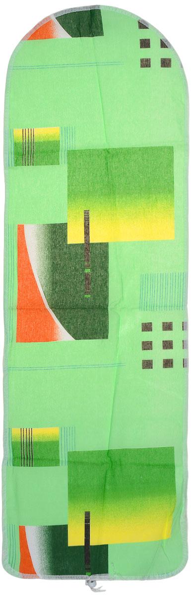 Чехол для гладильной доски Eva Detalle, цвет: зеленый, желтый, 120 х 37 смЕ1302_зеленый, желтыйЧехол для гладильной доски Eva Detalle, выполненный из хлопка с подкладкой из мягкого войлока, предназначен для защиты или замены изношенного покрытия гладильной доски. Из войлочного полотна вы можете вырезать подкладку любого размера, подходящую именно для вашей доски. Чехол препятствует образованию блеска и отпечатков металлической сетки гладильной доски на одежде. Этот качественный чехол обеспечит вам легкое глажение. Размер чехла: 120 см x 37 см. Размер войлочного полотна: 130 см х 52 см. Размер доски, для которой предназначен чехол: 115 см x 32 см.
