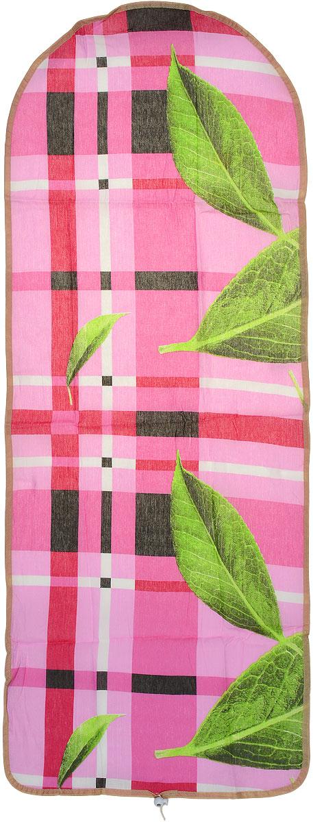 Чехол для гладильной доски Detalle, цвет: розовый, черный, зеленый, 125 см х 47 смЕ1301_розовый, черныйЧехол для гладильной доски Detalle, выполненный из хлопка с подкладкой из мягкого войлочного материала, предназначен для защиты или замены изношенного покрытия гладильной доски. Чехол снабжен стягивающим шнуром, при помощи которого вы легко отрегулируете оптимальное натяжение чехла и зафиксируете его на рабочей поверхности гладильной доски. Этот качественный чехол обеспечит вам легкое глажение. Размер чехла: 125 см x 47 см. Максимальный размер доски: 120 см х 42 см. Размер войлочного полотна: 130 см х 52 см.