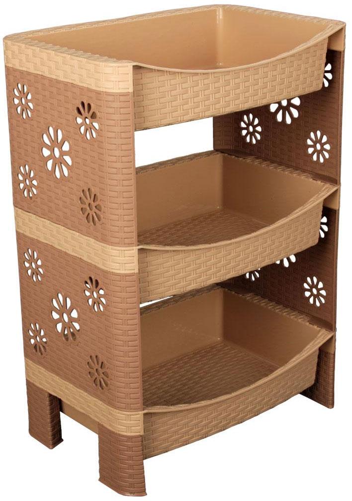Этажерка Плетенка, 3-х ярусная, цвет: какао, 45 см х 30 см х 64 смМ2546Этажерка Плетенка с тремя полками изготовлена из высококачественного пластика с эффектом плетения. Стенки украшены перфорацией в виде цветочков. Этажерка предназначена для хранения различных предметов на кухне или в ванной. На кухне в ней можно хранить посуду и кухонные приборы, а в ванной - различные ванные принадлежности. Изысканный дизайн позволяет использовать этажерку и в гостиной для хранения, например, книг или журналов. Легко собирается и разбирается. Этажерка очень удобная и компактная, но в тоже время вместительная. Этажерка Плетенка прекрасно впишется в интерьер помещения. Она поможет легко организовать пространство и хранить ваши вещи в порядке. Размер этажерки (ДхШхВ): 45 см х 30 см х 64 см. Размер полки (ДхШхВ): 45 см х 30 см х 10 см.